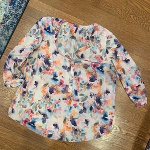 NYDJ Watercolor Floral Blouse